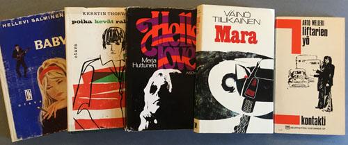 Kansikuva kirjoista Baby, Poika kevät rakkaus, Hello love, Mara ja Liftarien yö.