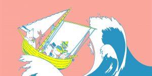 Muumi-kirjojen hahmoja veneessä korkean aallon vieressä.