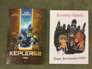 Kuvassa Timo Parvelan ja Kreetta Onkelin kirjojen kansikuvat.