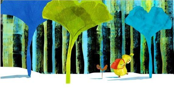 6. Tallinnan kuvitustriennalen tunnuskuvassa keltaiseen pukeutunut hahmo kulkee lumisessa metsässä punainen reppu selässä.