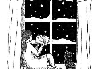 Tyttö istuu ikkunanlaudalla lukemassa kirjaa.