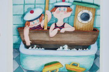 Camilla Mickwitz: …vene kasvoi niin isoksi, ettei se mahtunut purjehtimaan kylpyammeessa, kuvitus kirjaan Emilia ja kaksoset (1981).