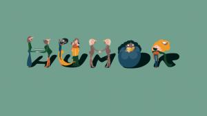 Nordisk barnbokkonferanse -tunnuskuvassa erinäköiset ihmiset muodostavat sanan humor.