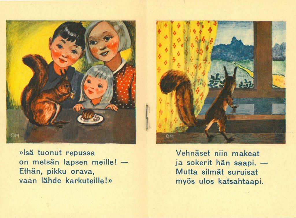 Kuvitusaukeama kuvakirjasta Pikku Kurren kylämatka