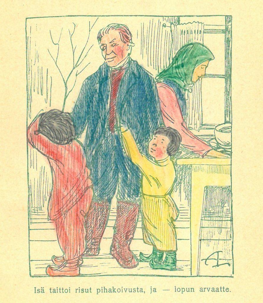 Adolf Luomasen signeeraus AL teoksen kuvituskuvassa. Kuvaa väritetty käsin.