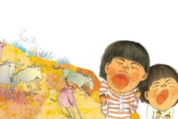 Jenny Lucanderin kuvitusta Vi är lajon! -kuvakirjaan.