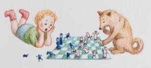 Poika ja koira pelaavat shakkia.